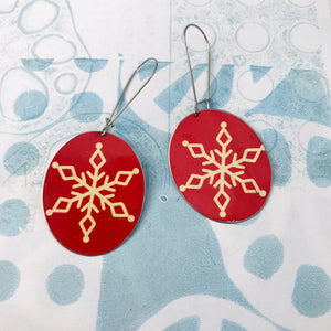 Creamy Snowflakes on Red Large Ovals Tin Earrings