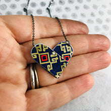 Load image into Gallery viewer, Red & Gold on Midnight Blue Tin Heart Recycled Necklace