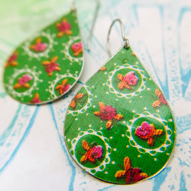 Tiny Roses & Doilies Upcycled Teardrop Tin Earrings