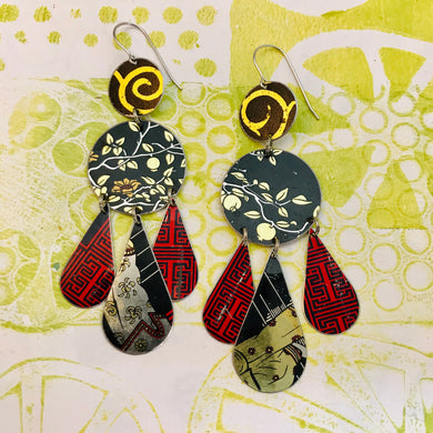 Mixed Midnights & Red Zero Waste Tin Chandelier Earrings