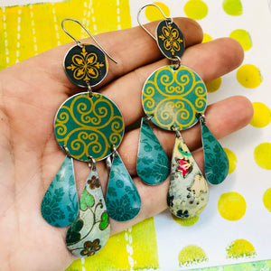 Mixed Greens and Gold Filigree Upcycled Tin Chandelier Earrings