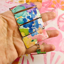 Load image into Gallery viewer, Watercolor Flowers Upcycled Tin Bracelet