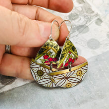 Load image into Gallery viewer, Mixed Golden Patterns Little Sailboats Tin Earrings