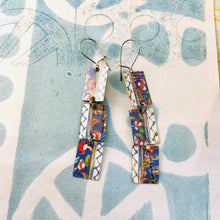 Load image into Gallery viewer, Cornflower Edges Upcycled Rectangles Tin Earrings