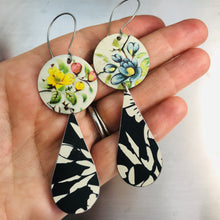 Load image into Gallery viewer, Vintage Flowers and Black Tin Long Teardrops Earrings