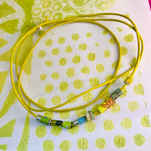Load image into Gallery viewer, Lime Yellows Beaded Leather Cord Necklace or Bracelet