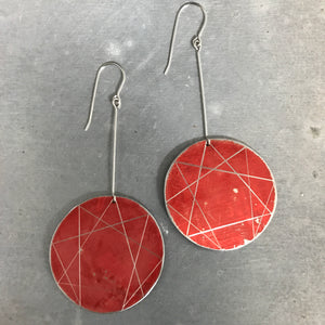 Red Enneagram Circles Upcycled Tin Earrings