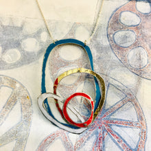 Load image into Gallery viewer, Teal, Gold, Scarlet & Snow Scribbles Upcycled Tin Necklace