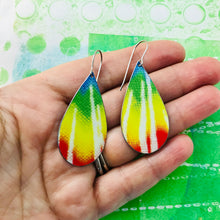 Load image into Gallery viewer, Tie Dyed Upcycled Teardrop Tin Earrings
