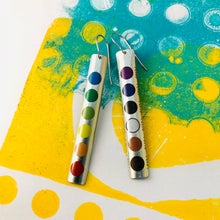 Load image into Gallery viewer, Colored Pencil Case Long Narrow Tin Earrings