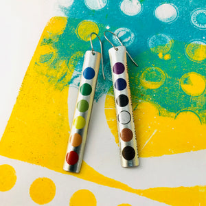 Colored Pencil Case Long Narrow Tin Earrings