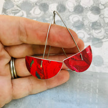 Load image into Gallery viewer, Red Semi-circle Upcycled Tin Earrings