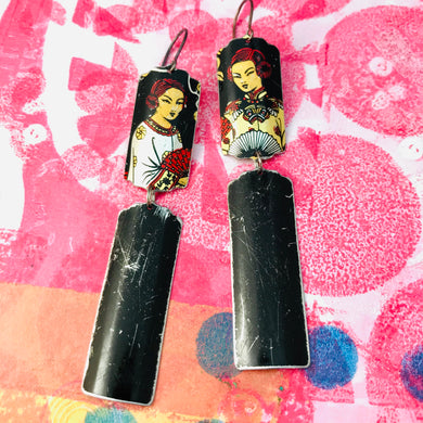 Courtesans Fancy Black Rectangles Recycled Tin Earrings