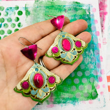 Load image into Gallery viewer, Vintage Corner Arts and Craft Style Zero Waste Tin Earrings Ethical Jewelry