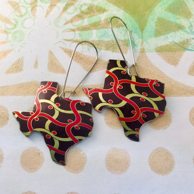 Wavy Voluspa Pattern Upcycled Tin Texas Earrings