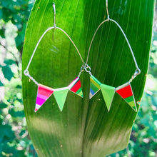Load image into Gallery viewer, Tiny Pennant Swag Upcycled Tin Earrings