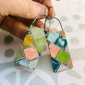 Mixed Colors Tesserae Arched Wire Tin Earrings
