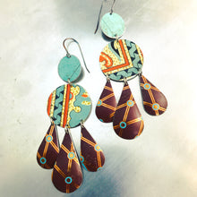 Load image into Gallery viewer, Chocolate and Mixed Aquas Zero Waste Tin Chandelier Earrings