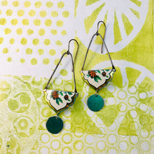 Load image into Gallery viewer, Flowers with Golden Border Recycled Tin Earrings