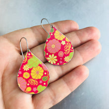 Load image into Gallery viewer, Tiny Flowers on Cerise Pink Upcycled Teardrop Tin Earrings adaptive reuse jewelry