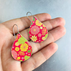 Tiny Flowers on Cerise Pink Upcycled Teardrop Tin Earrings