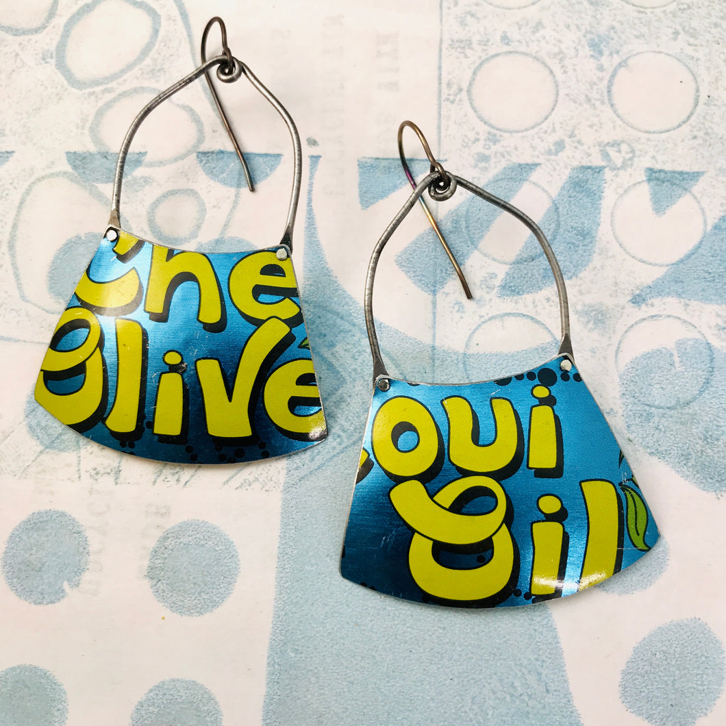 Olive Oil Shimmery Blue Zero Waste Tin Earrings