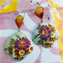 Load image into Gallery viewer, Purple & Red Flowers Trefoil Upcyled Tin Earrings