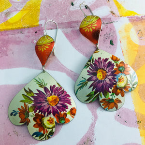 Purple & Red Flowers Trefoil Upcyled Tin Earrings