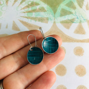 Teal Screening Upcycled Tiny Dot Earrings