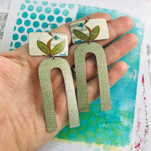 Load image into Gallery viewer, Green Leaves & Mottled Gray Arches Zero Waste Tin Earrings