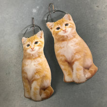Load image into Gallery viewer, Orange Tabby Cat Upcycled Tin Earrings by Christine Terrell for adaptive reuse jewelry
