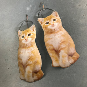 Orange Tabby Cat Upcycled Tin Earrings by Christine Terrell for adaptive reuse jewelry