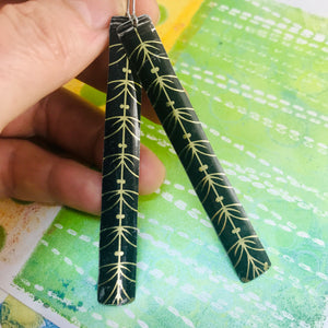 Black with Golden Linework Long Narrow Tin Earrings