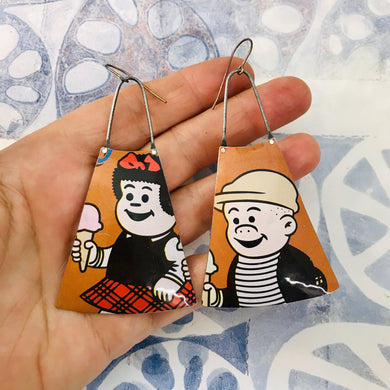 Nancy & Sluggo Upcycled Tin Long Fans Earrings