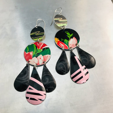 Pinks on Black Zero Waste Tin Chandelier Earrings