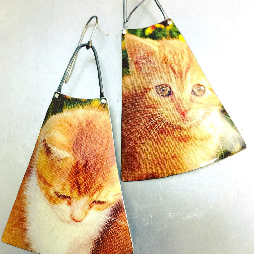 Melancholy Kittens Upcycled Vintage Tin Long Fans Earrings