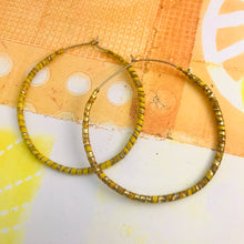 Load image into Gallery viewer, Spiraled Tin Big Pale Orange Hoop Earrings