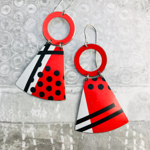 Black & White & Red Graphics Small Fans Tin Earrings