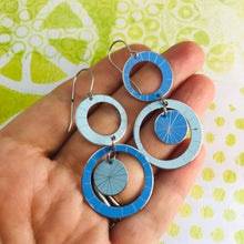 Load image into Gallery viewer, Pale Blue & Cornflower Silver Starburst Multi Circles Upcycled Tin Earrings