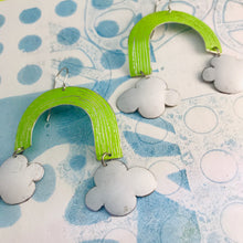 Load image into Gallery viewer, Chartreuse Green Etched Rainbows with Puffy Clouds Upcycled Tin Earrings