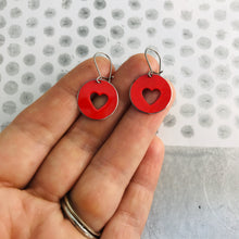 Load image into Gallery viewer, Red Heart Cutouts Tiny Tin Earrings
