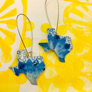 Texas Blue Wildflowers Upcycled Tin Earrings