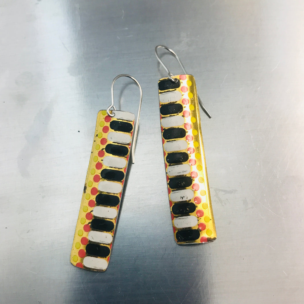 Dots & Dashes on Gold Narrow Rectangle Tin Earrings