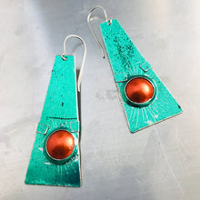 Load image into Gallery viewer, Shimmery Green & Orange Zero Waste Tin Earrings