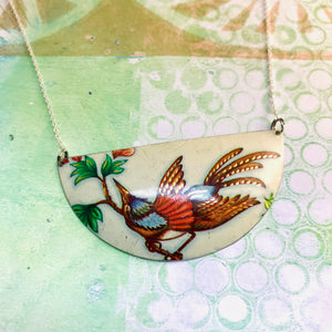 Gorgeous Bird Half Moon Recycled Pendant