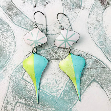 Retro Pale Aqua & Chartreuse Rex Ray Zero Waste Tin Earrings