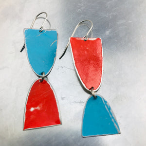 Mod Matte Red & Blue Arches Zero Waste Tin Earrings