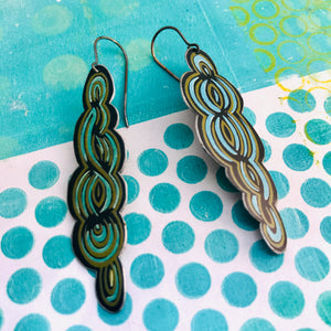 Cool Swirls Long Recycled Tin Earrings