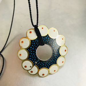 Circle of Red Dotted Pearls Upcycled Tin Necklace