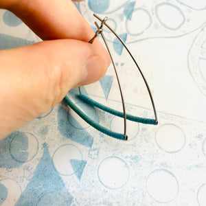 Small Muted Aqua Blue Spiraled Tin Triangle Hoop Earrings
